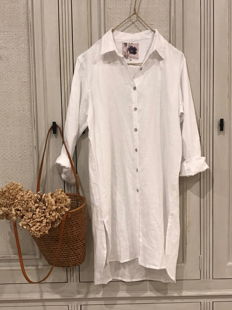 PALOMA LINEN BOYFRIEND SHIRT/DRESS - white