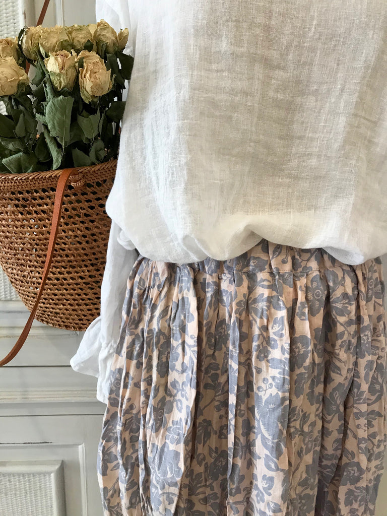 LAYLA LINEN SKIRT- 2 lengths - Dusty blue flower