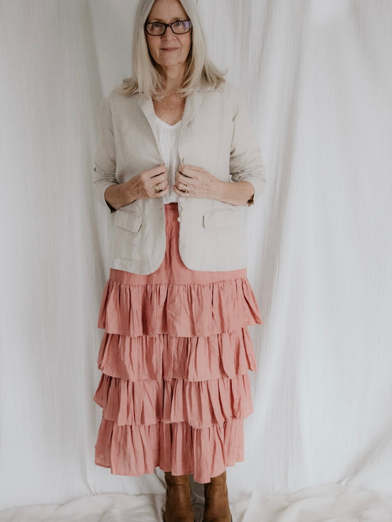 ISABELLE LINEN SKIRT- BISQUE