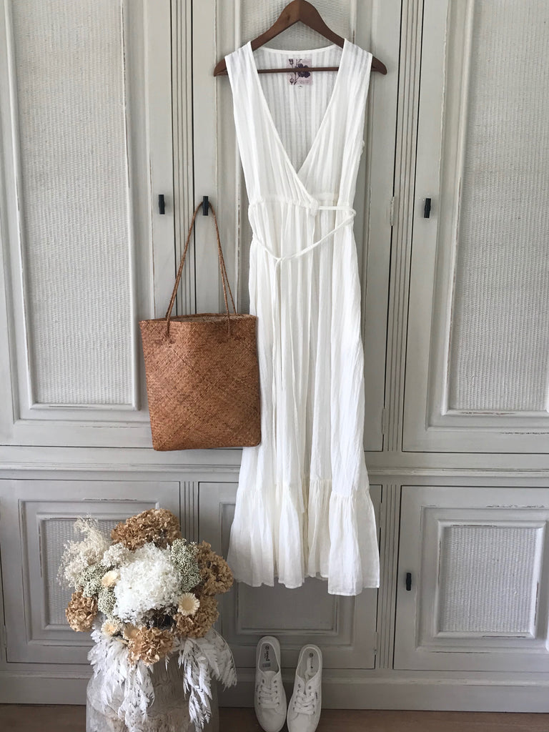 WILLOW WRAP COTTON DRESS- Off White