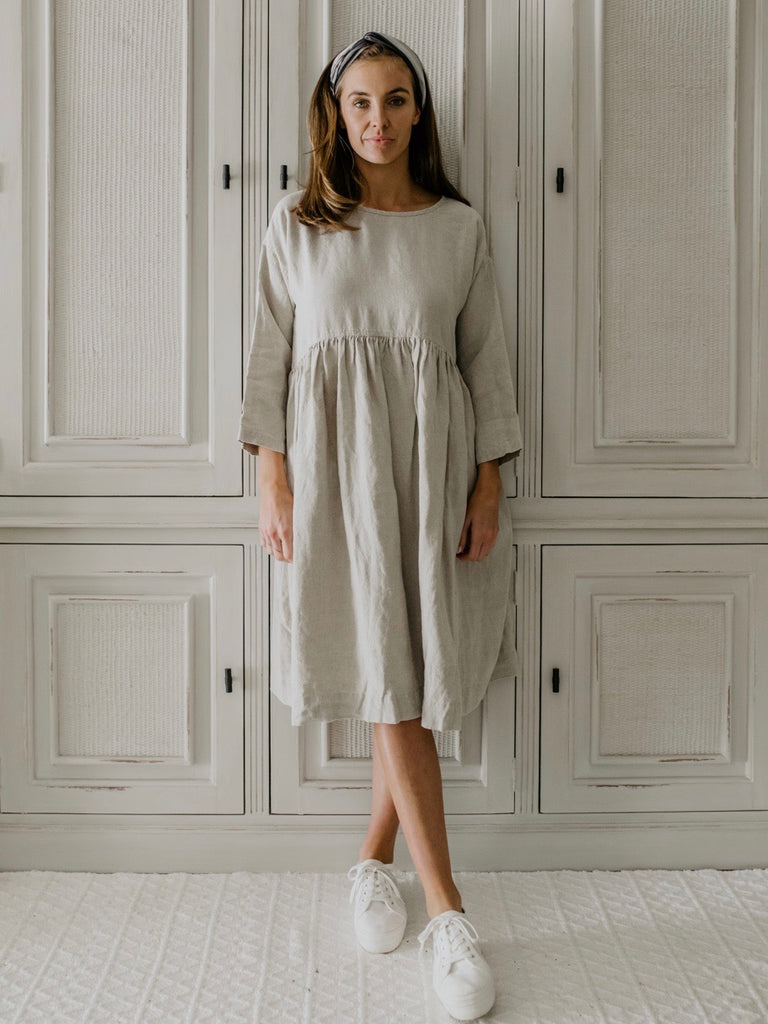 HATTIE FLAX LINEN DRESS- NATURAL