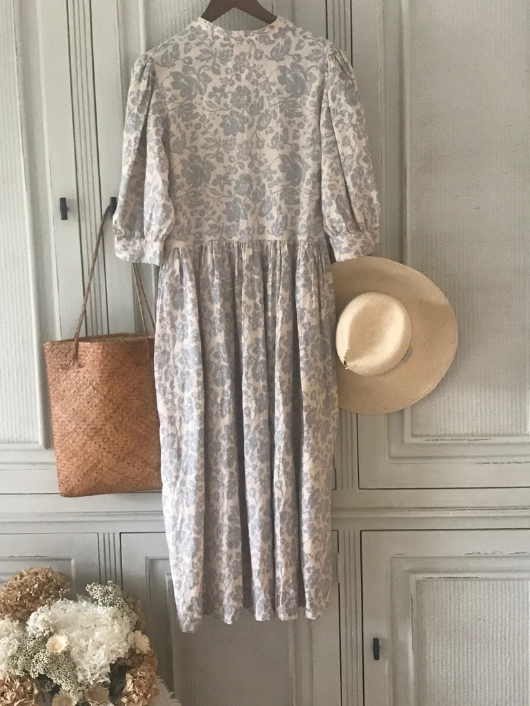 JEMMA LINEN DRESS- Dusty blue flower