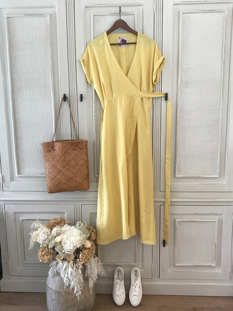 JASMINE LINEN WRAP DRESS- 4 colours