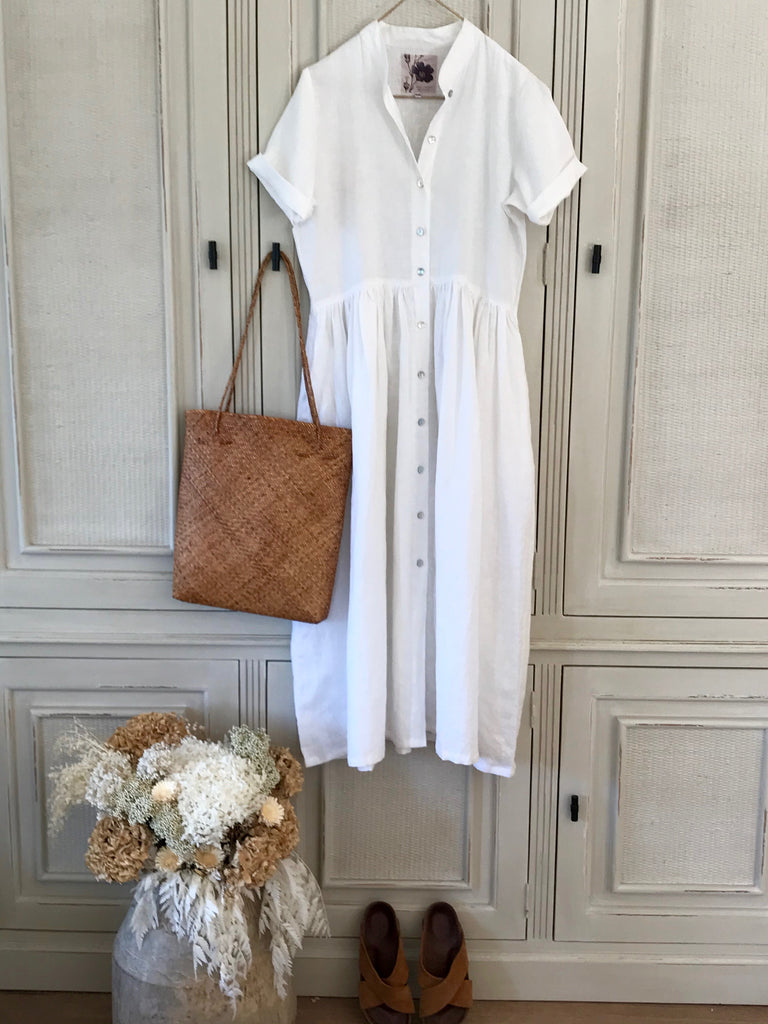 JEMMA LINEN DRESS- White