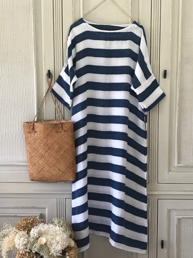 VENETO LINEN DRESS- MIST STRIPE/INDIGO STRIPE
