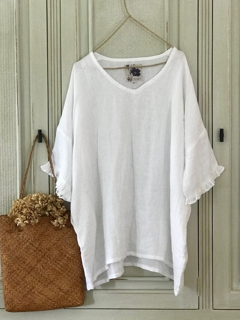 JULIA LINEN BLOUSE- White