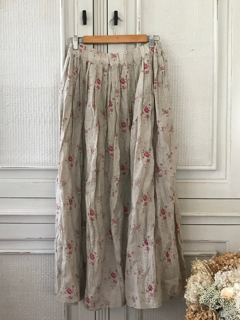 LAYLA LINEN SKIRT - MAXI - Natural Rose