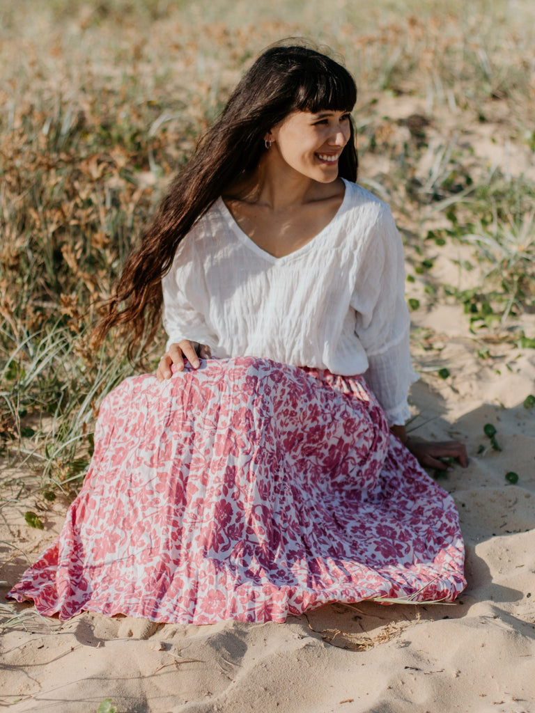 LAYLA LINEN SKIRT- 2 lengths - Baroque Rose flower