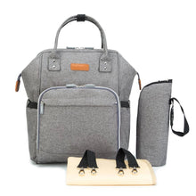 Grey Linen Nappy Bag