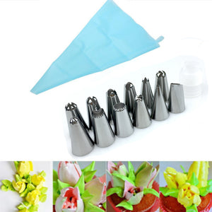Silicone Icing Piping + Stainless Steel Nozzle Set