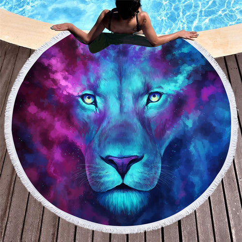 3D Lion Round Towel