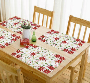 Poinsettia Embroidered Placemats