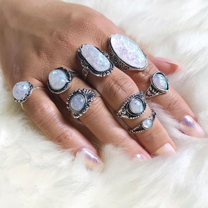 Antique Silver Ring with White Opal Stone Set