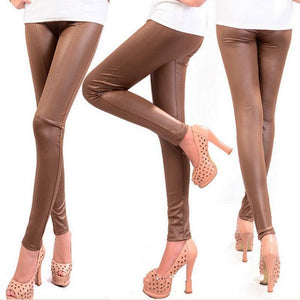 Stitched Design Faux Leather Leggings