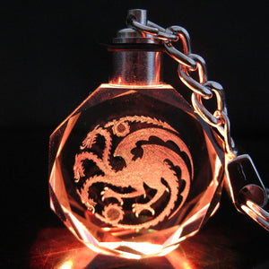Dragon Symbol Crystal LED Key Chain