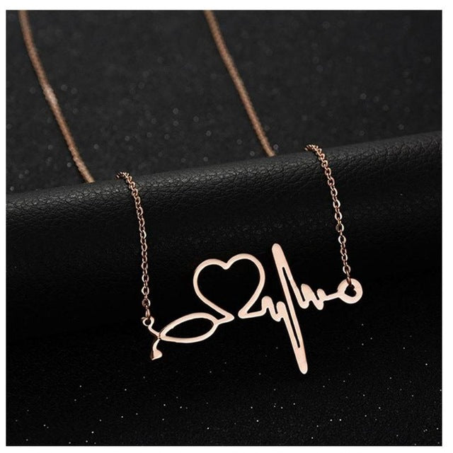 Stethoscope Heartbeat Pendant - Rose Gold