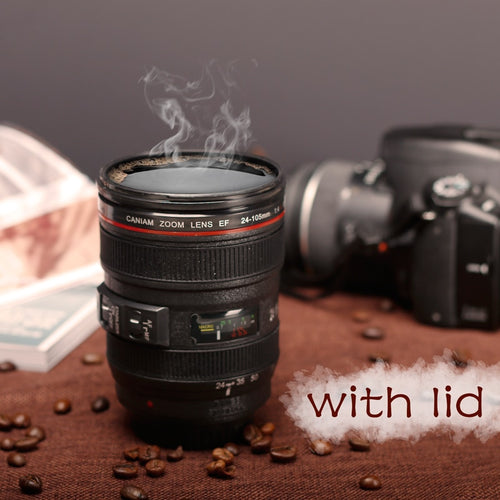 SLR Camera Lens Plastic Coffee Tea Mug with Lid