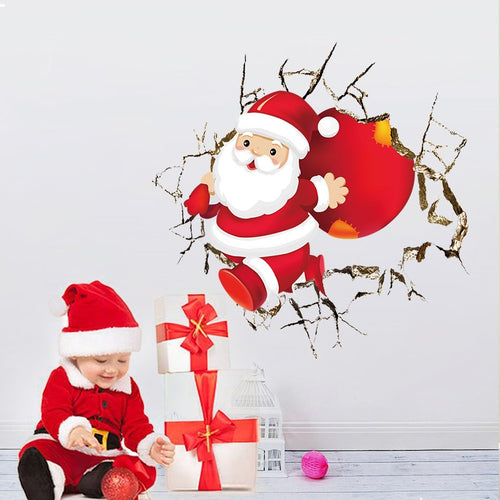 Santa Claus Broken Wall Stickers