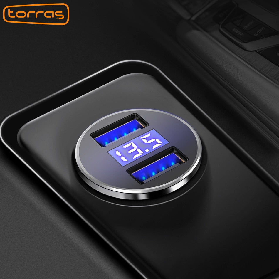 Dual USB Car Charger Adapter with LED Display