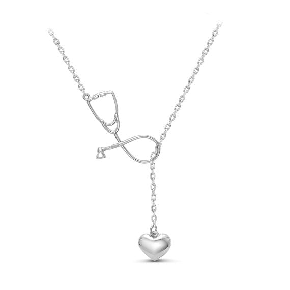 Heart and Stethoscope Pendant - Silver
