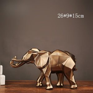 Modern Abstract Golden Elephant Statue