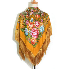 Floral Shawl with Tassels