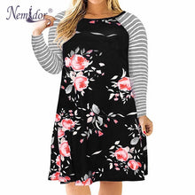 Floral Vintage Striped Sleeved Dress Plus Size With Pockets