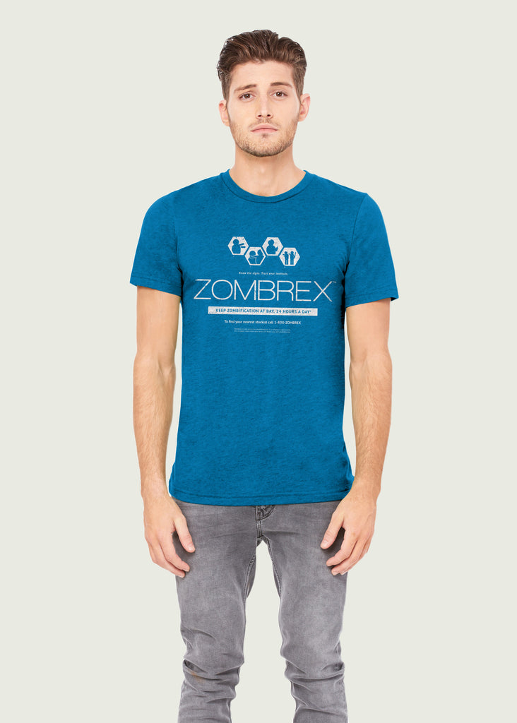 Men's Blue Zombrex Gamer T-Shirt Inspired By Dead Rising
