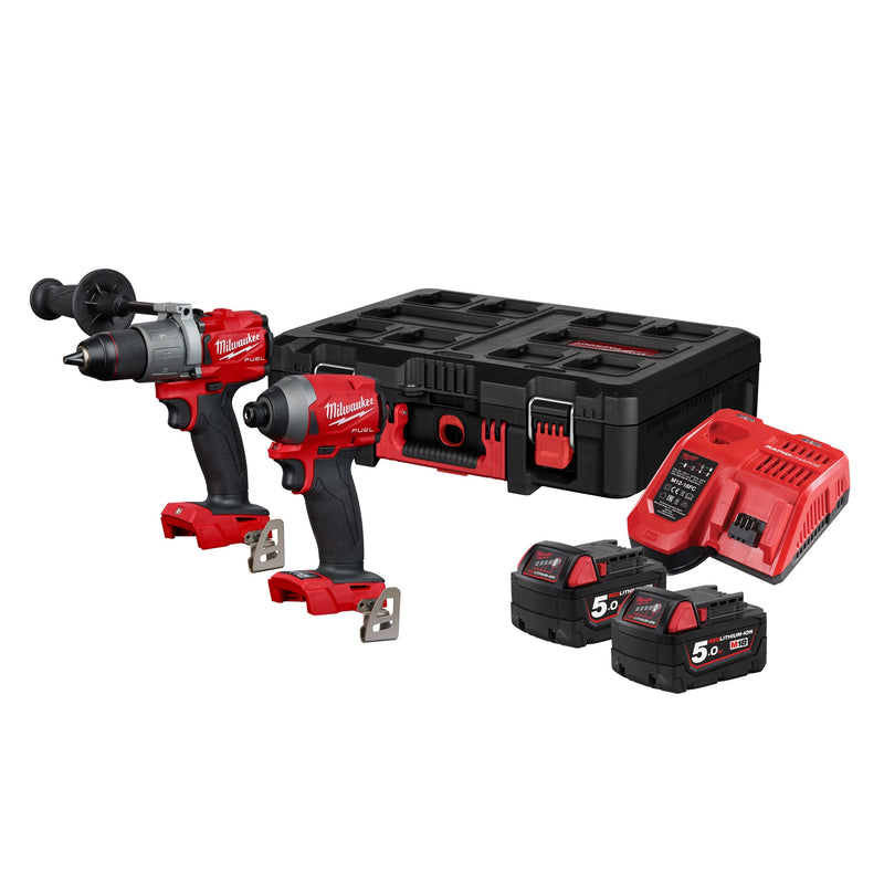 MILWAUKEE M18FPP2L2-502P 18v Combi and Impact Driver c/w 2x5ah Batteries