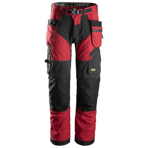 Snickers 6902 FlexiWork Work Trousers+ Holster Pockets (1604 Red / Black)