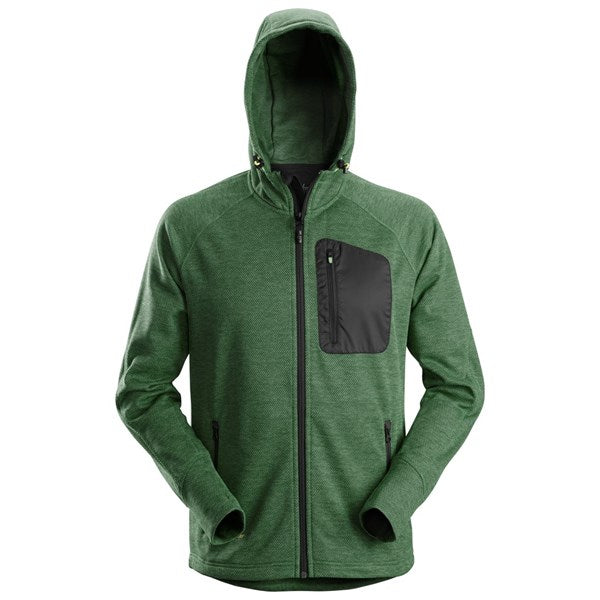Snickers 8041 FlexiWork Fleece Hoodie (3904 Forest Green/Black)