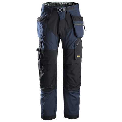 Snickers 6902 FlexiWork Work Trousers+ Holster Pockets (9504 Navy / Black)