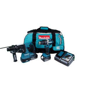 MAKITA DLX2204TX3 18V LXT TWIN KIT DHP484 COMBI & DHR242 SDS+ HAMMER INC 2X 5.0AH BATTERIES