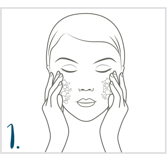 First clean the face, neck and décolleté
