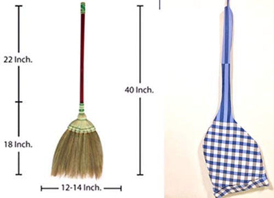 "40 - 42"" Natural Grass Broom Vintage Retro Made in Thailand - SKENNOVA -Thailand Handmade"