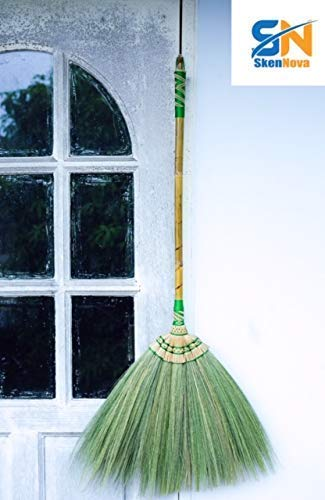 Natural Grass Broom with a Bamboo Broomstick - SKENNOVA -Thailand Handmade