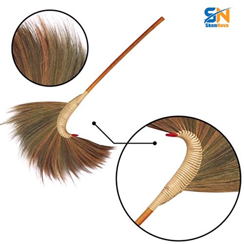 Handmade Grass Broom with a Bamboo Broomstick Handle - SKENNOVA -Thailand Handmade