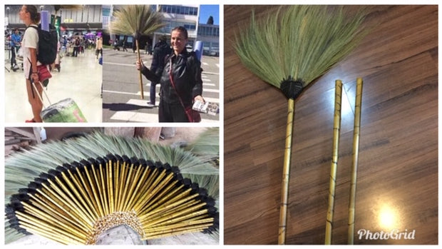 Traditional Grass Broom Handmade Bamboo Thick - SKENNOVA -Thailand Handmade