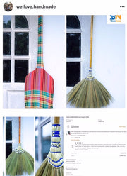 Thai Vintage Retro Grass Broom Stick Long Handle Hand Grip - SKENNOVA -Thailand Handmade