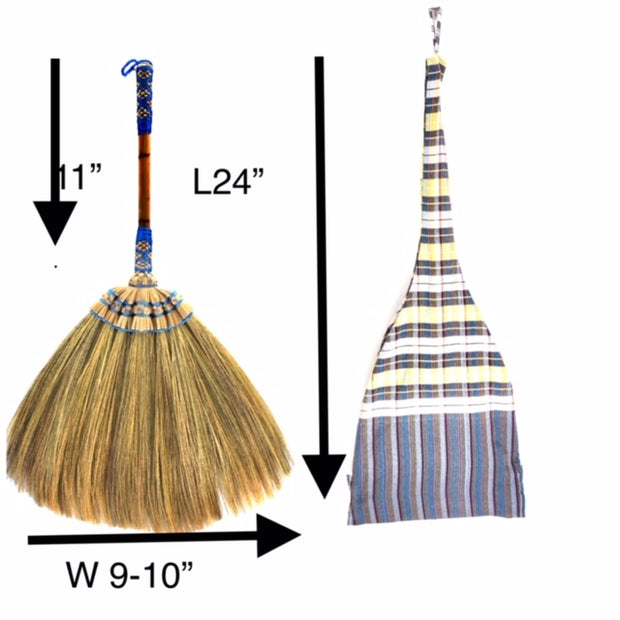 Natural Grass Broom Vintage Retro Made in Thailand - SKENNOVA -Thailand Handmade