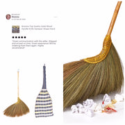 "43"" of Thai Vintage Retro Grass Broom with Wooden Stick Handle - SKENNOVA -Thailand Handmade"