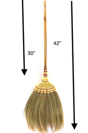 40 - 42-inch Thai Vintage Retro Natural Grass Broom Natural Wood Handle - SKENNOVA -Thailand Handmade