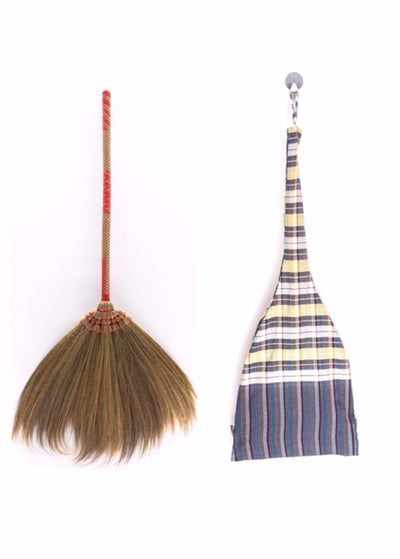 Set of Loincloth Broom Bag with Natural Grass Broom Handmade - SKENNOVA -Thailand Handmade