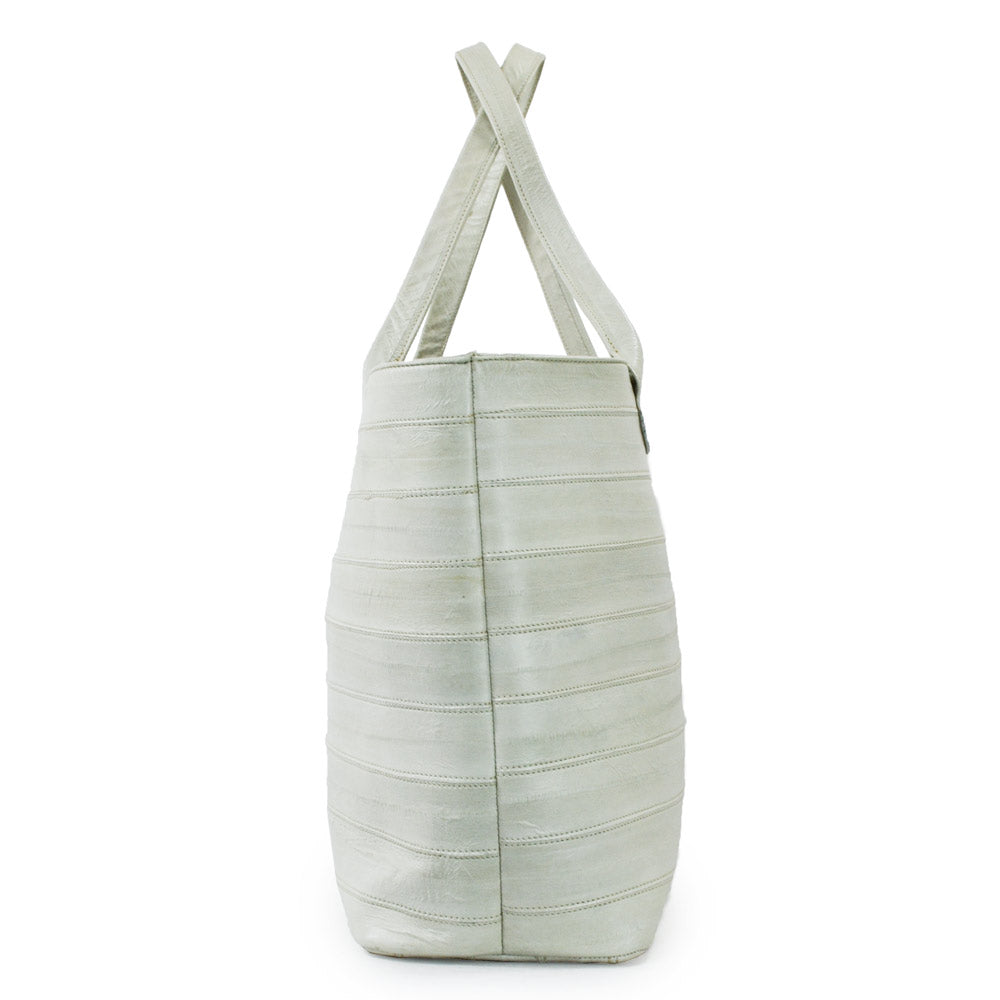 Jane Genuine Eel Leather Ivory Tote