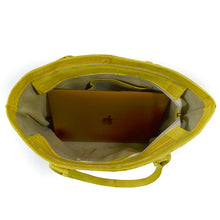 Load image into Gallery viewer, Jane Genuine Eel Leather  Canary Yellow Tote