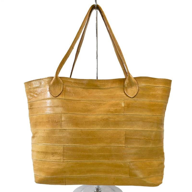 Jane Genuine Eel Leather Beige Tote