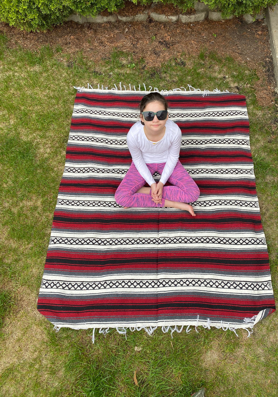 Pow Wow Burgundy/White Yoga Blanket