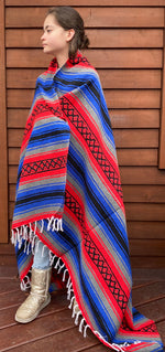 Pow-Wow Blue/Red Yoga Blanket