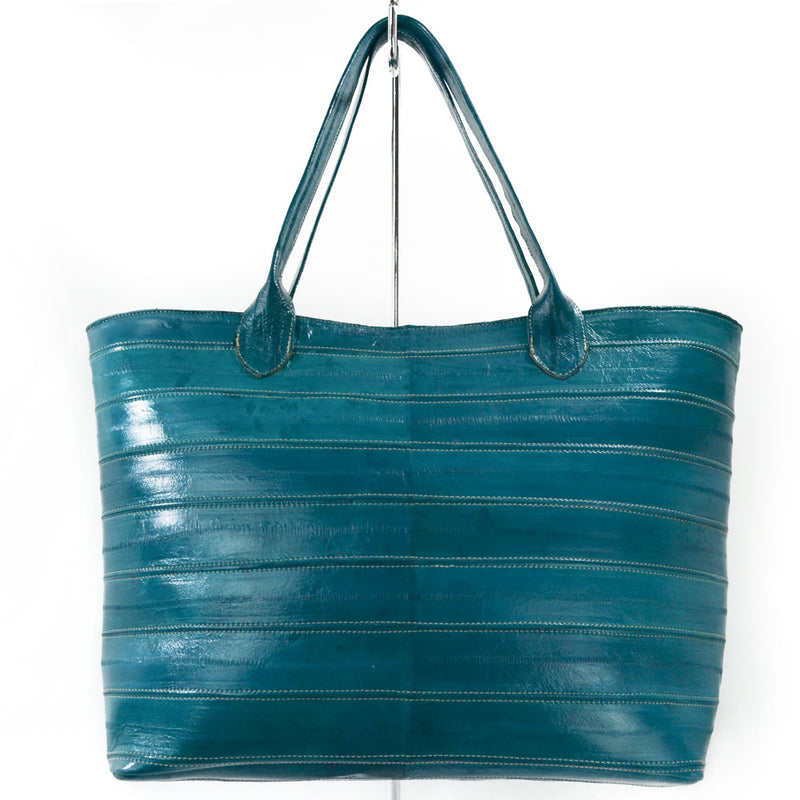 Jane Genuine Eel Leather Turquoise Tote