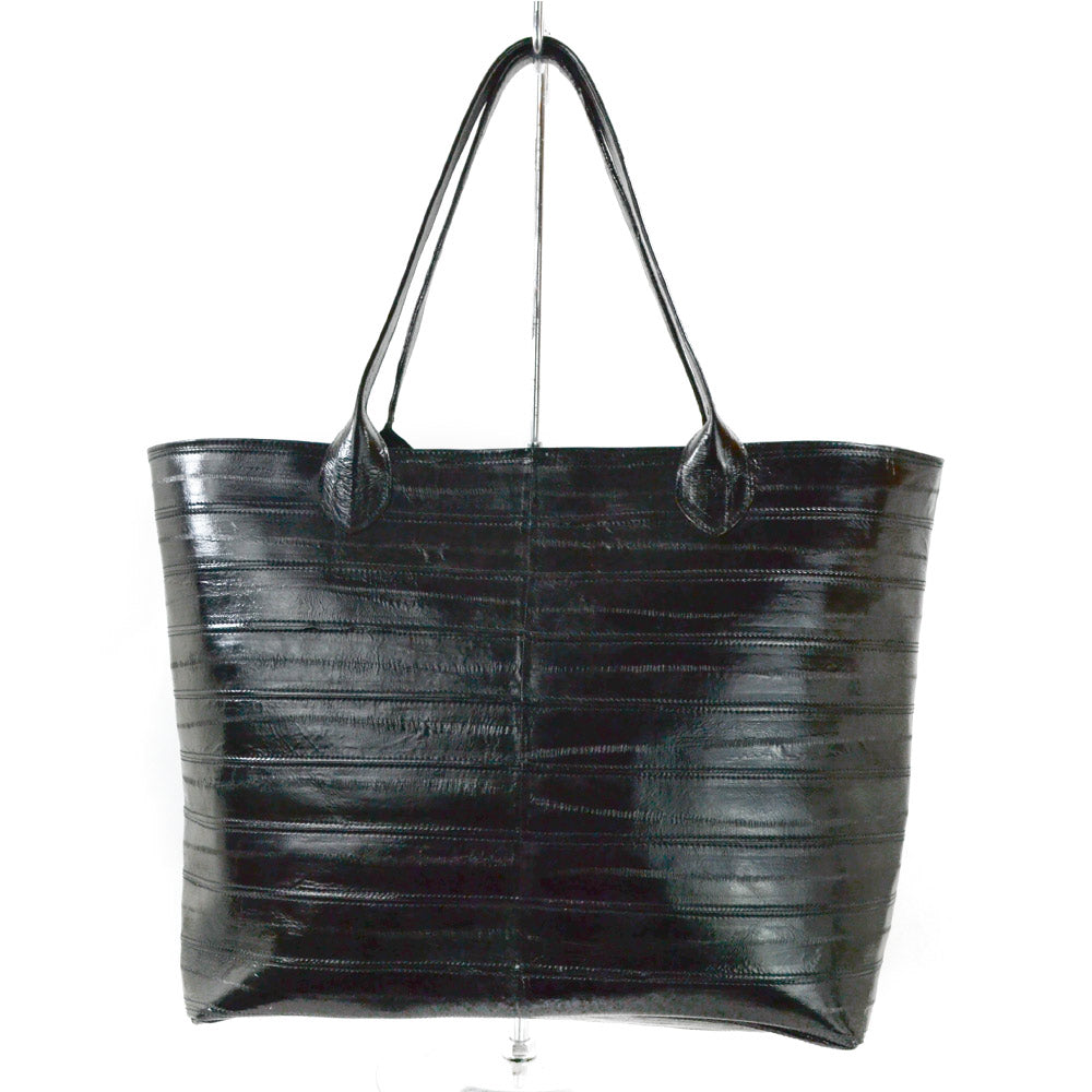Jane Genuine Eel Leather Black Tote
